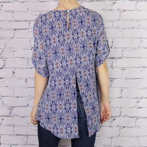 Anthropologie W5 blue paisley high low blouse